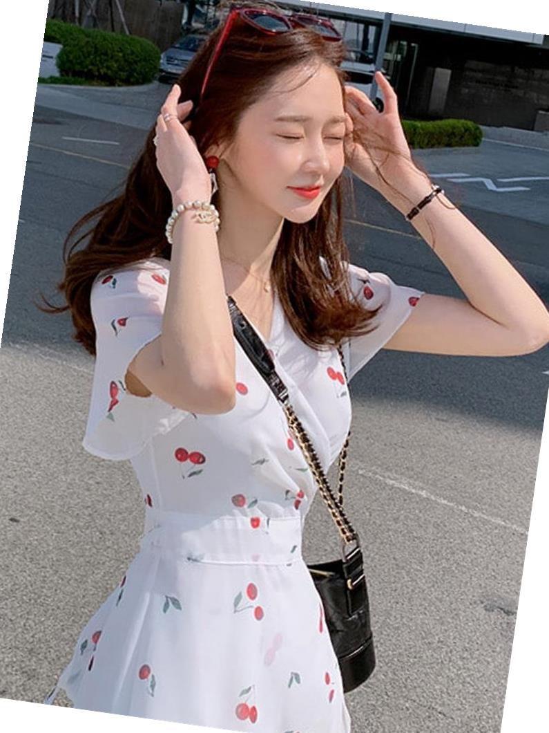 热销0件限时2件3折很仙的法国小众桔梗雪纺2019夏裙子