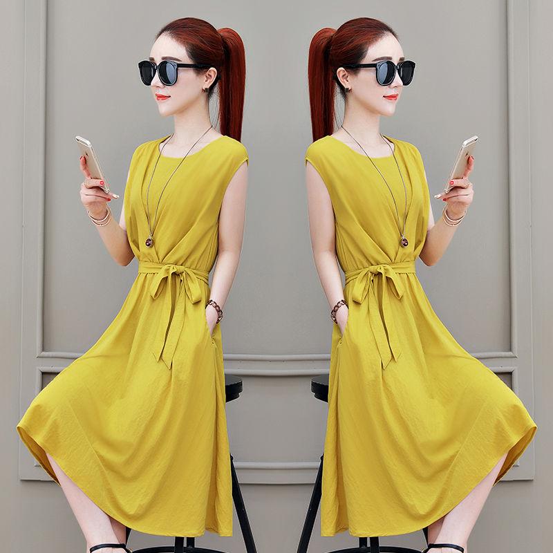 22连衣裙女夏2020新款女士夏装简约时尚裙子原宿风收腰显瘦中长款