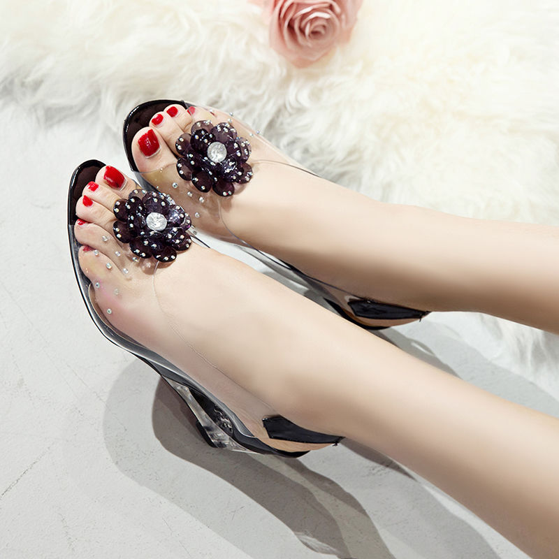 Slope heel sandals womens summer plastic jelly transparent sandals crystal high heels flower water drill fish mouth large size womens shoes