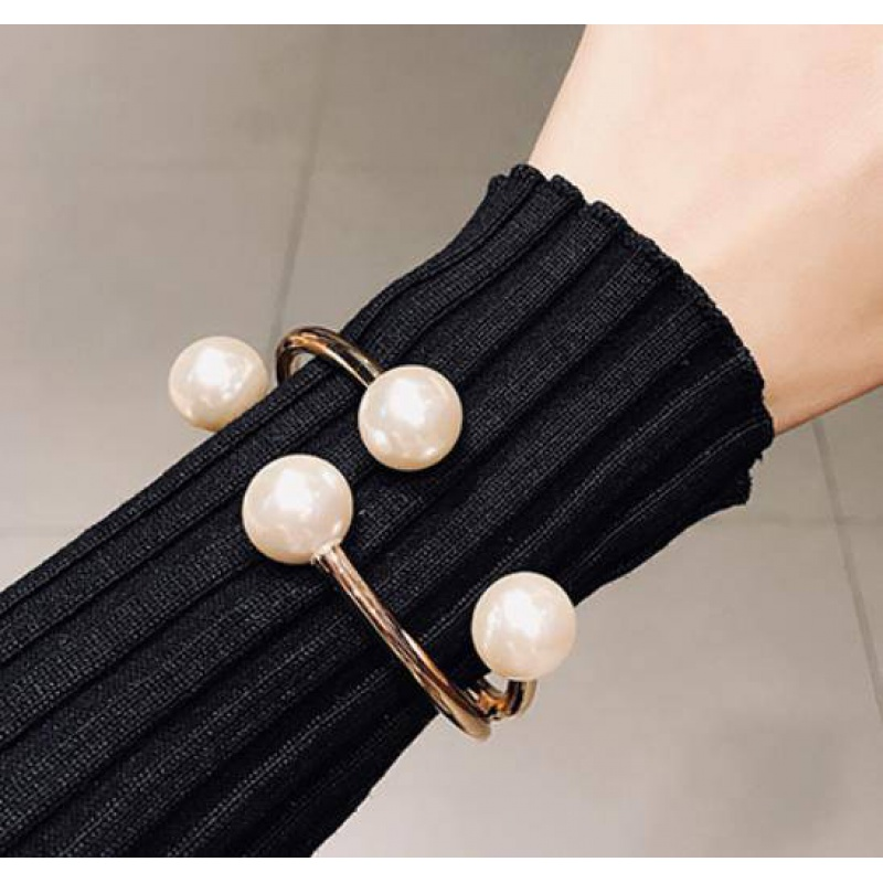 Japan and South Korea personality fashion pearl opening Bracelet trendy people exaggerate all kinds of spring bracelets clothes cuffs with accessories for women