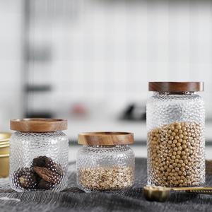 木盖玻璃密封罐茶叶零食大号创意储物罐厨房用品日式锤目纹密封罐