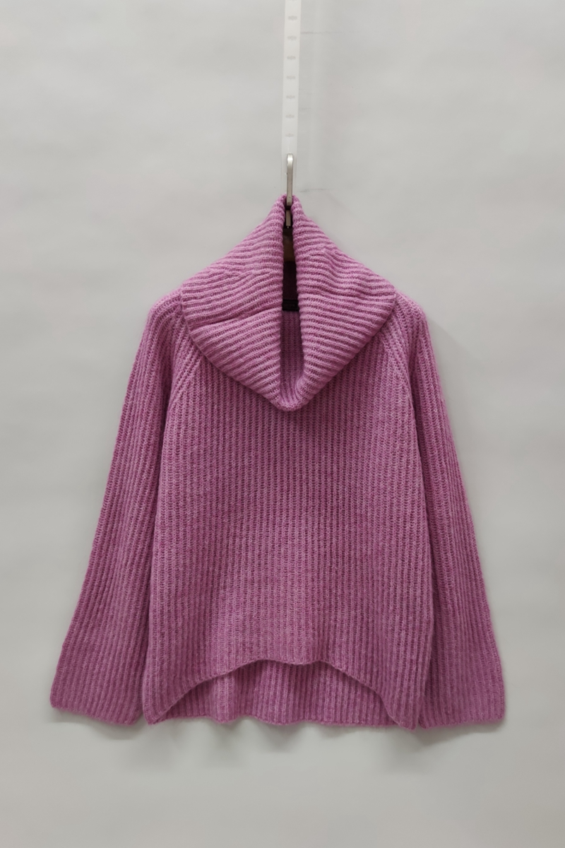Foreign trade export tail single Wool Mohair alpaca wool high and low needle flower g thickened front short back long womens sweater