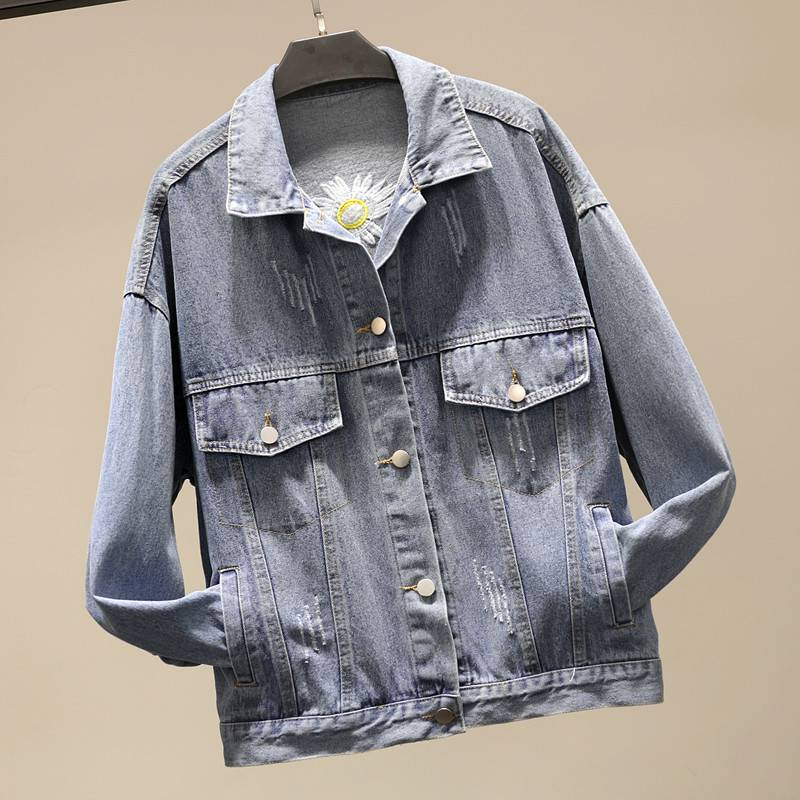 Spring new denim jacket female embroidery letter embroidery Korean version loose thin top original home BF style student trend