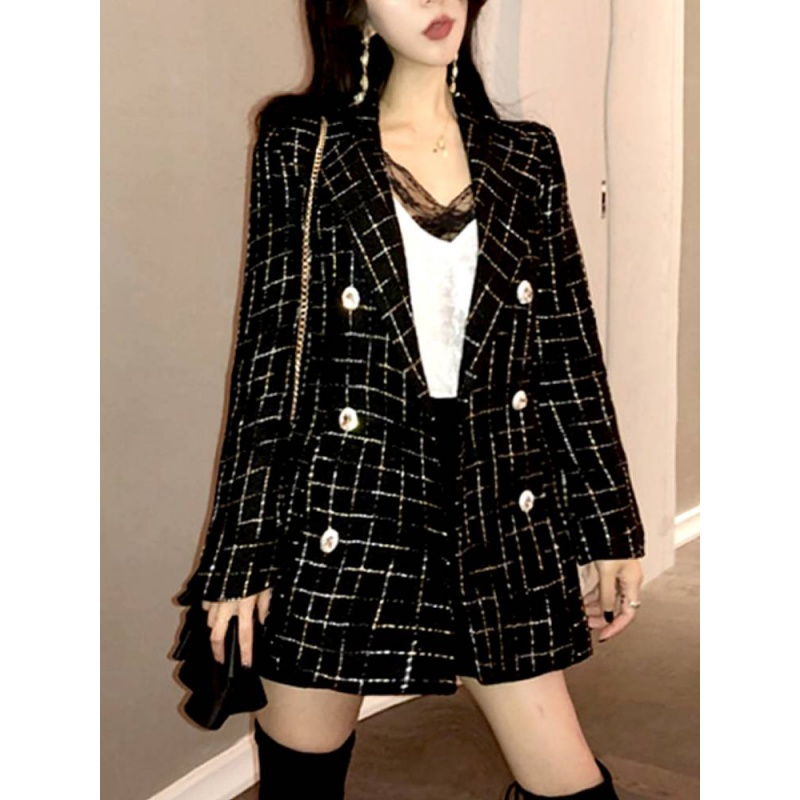 2020 new spring Plaid suit coat womens South Korea casual loose air small fragrant net red small suit chic