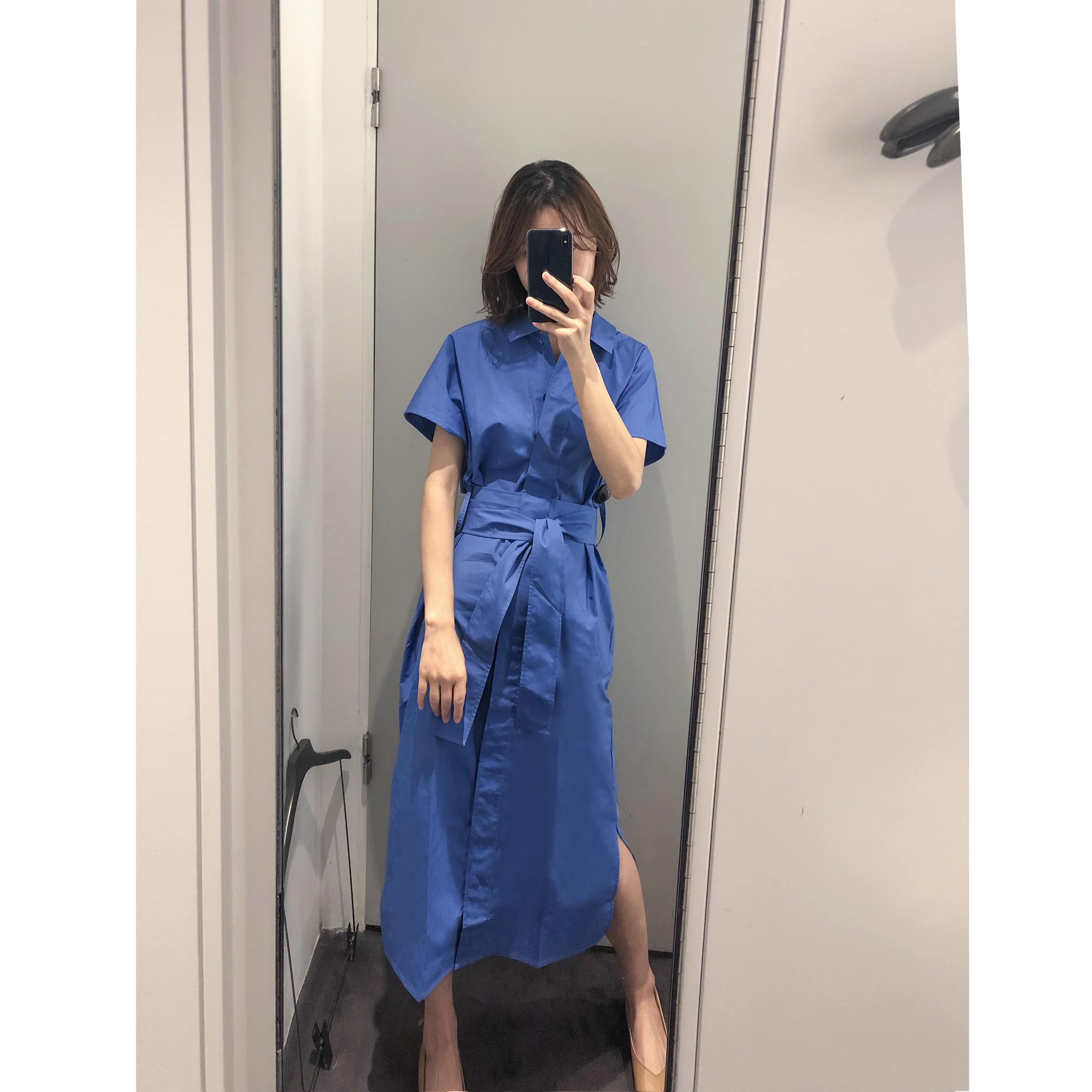 券后218.00元简约气质cos风藏蓝色系带收腰连衣裙2019夏季新款衬衫裙女修身