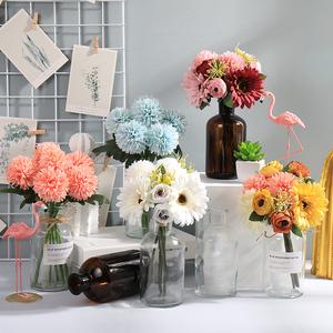 北欧仿真花客厅插花装饰花束小摆件室内绢花干花手工塑料假花摆设