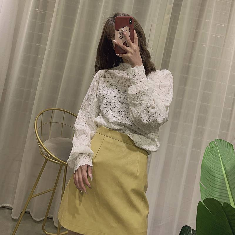 Sister Xiaoyuns new leather shorts in spring and autumn and winter 2020 womens fashion loose Korean A-shaped leather pants look thin outside