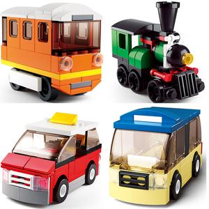 拼车挖掘机5-6-7岁男童建构拼凑数学组装玩具男孩益智可拆卸拼装