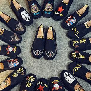 老北京布鞋男鞋刺绣帆布豆豆鞋社会精神小伙中国风休闲鞋子男潮鞋