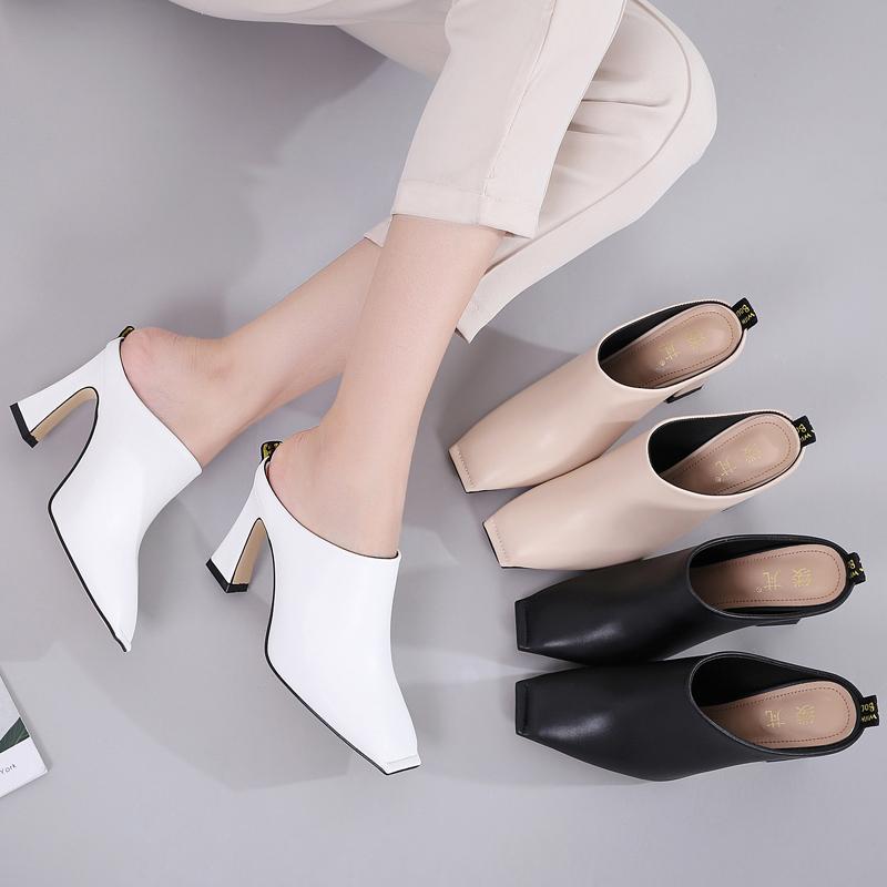 高跟拖鞋女外穿夏2020新款时尚百搭粗跟凉拖鞋包头半拖方头穆勒鞋