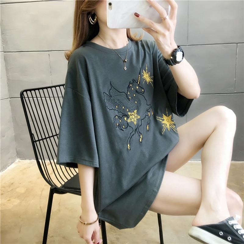 大码女装春装2020年新款独角兽短袖t恤女宽松韩版夏季半袖上衣服图片