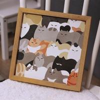 。日式挂画免打孔无痕钉小尺寸儿童房猫餐厅装饰画客厅卧室少女床
