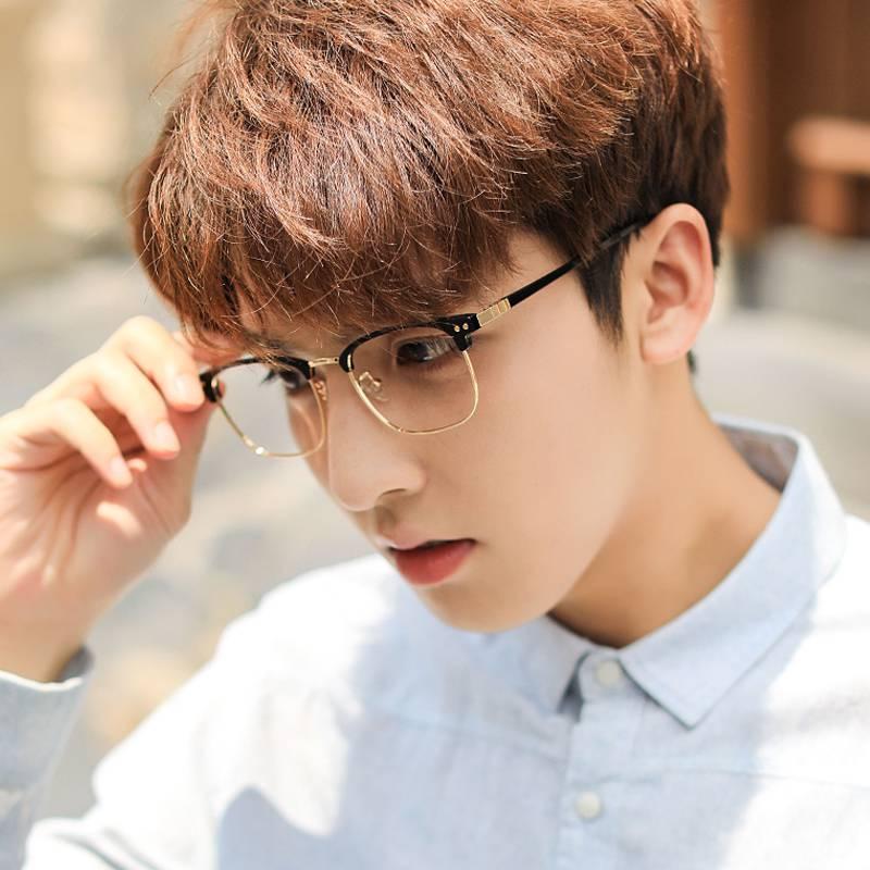 メガネのフレームの男性の潮の復古の半分の枠の個性の大きい顔は超軽い鏡のフレームを超えて度数の製品の近視の眼鏡の文芸の目があります。