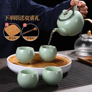 汝窑茶壶内置过滤网汝瓷开片可养功夫茶具陶瓷大号单壶红茶泡茶器