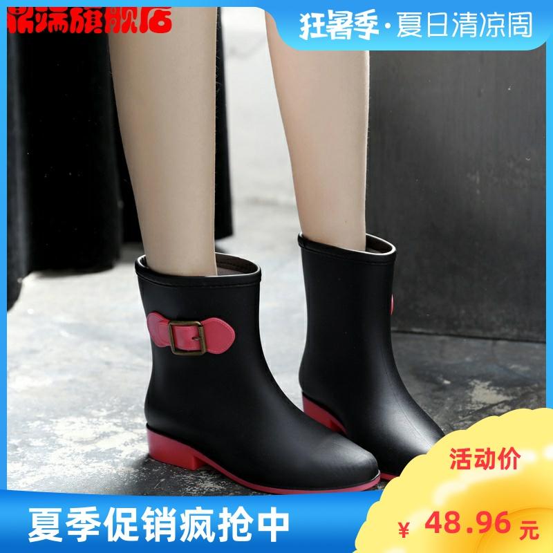 Fashionable womens rain boots womens rain shoes womens water shoes frosted rain shoes antiskid spring and autumn short tube rain boots womens rubber overshoes