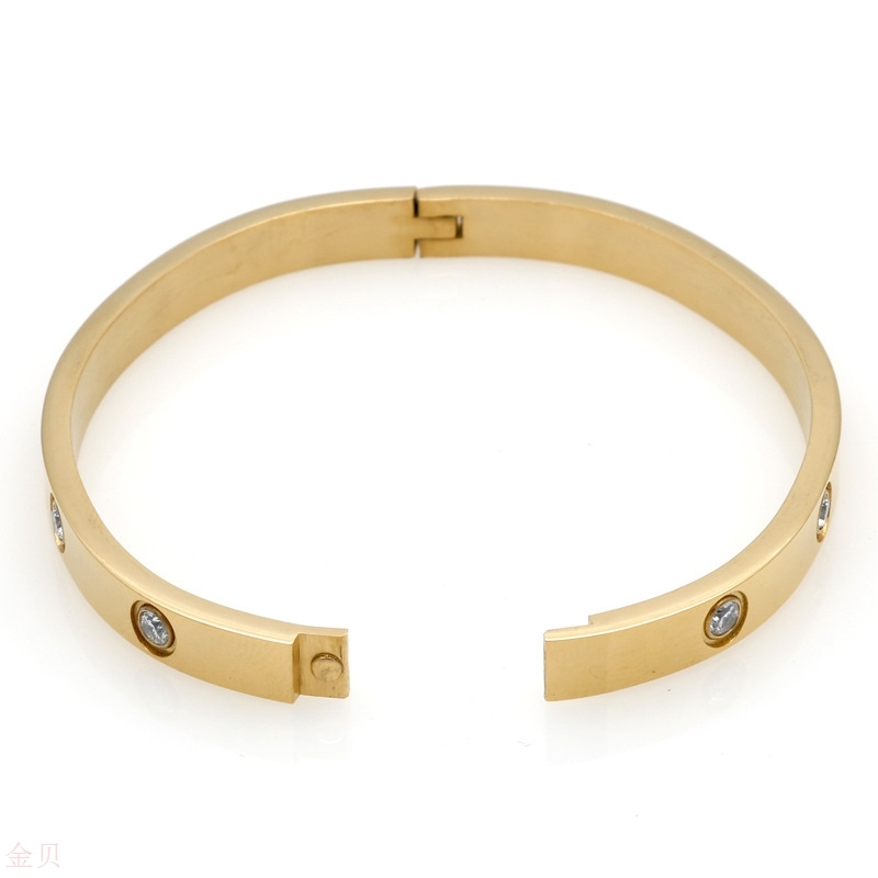 Stainless steel CNC full drill vacuum 18K Gold Korean couple mens and womens buckle foreign trade love bracelet eternal ring