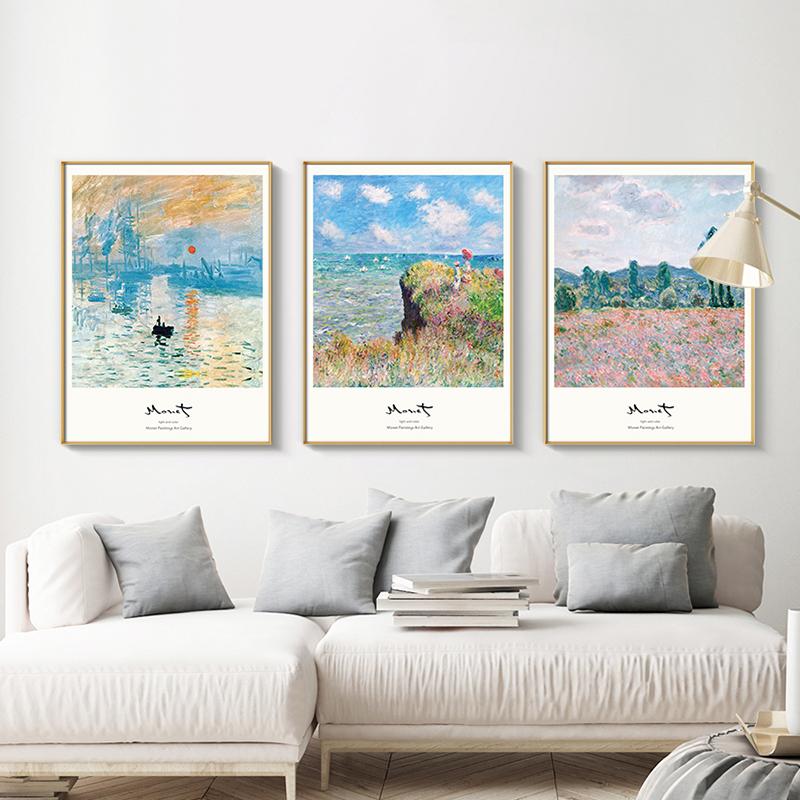 。莫奈装饰画日出印象世界名画客厅沙发后面背景墙风景三联餐厅挂