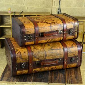 欧式地图复古木质手提箱木箱子 老式皮箱收纳箱 拍摄道具橱窗装饰