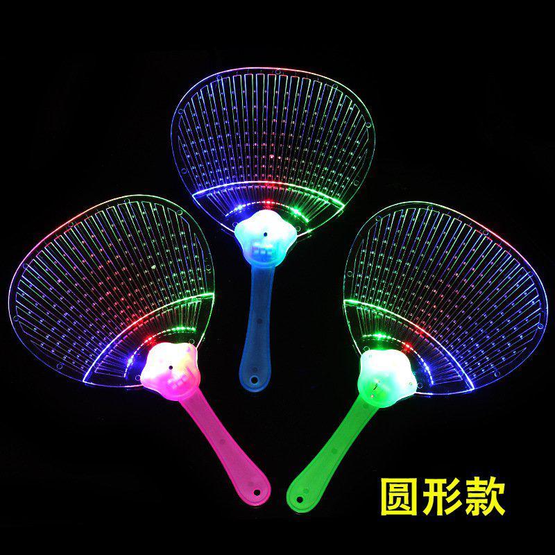 中国风卡通扇演唱会闪光发光扇子酒吧透明夜店广告扇led灯广场舞