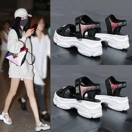 网红爆款运动凉鞋夏季魔术贴高跟鞋