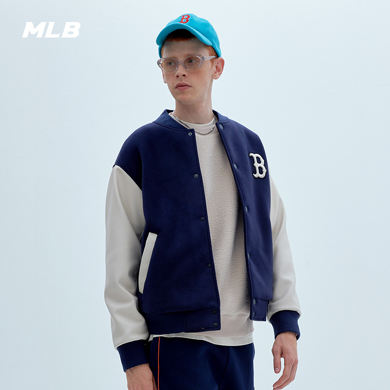 MLB official men's and women's baseball uniform splicing jacket coat cotton clothing loose sports leisure tide autumn and winter new JP06