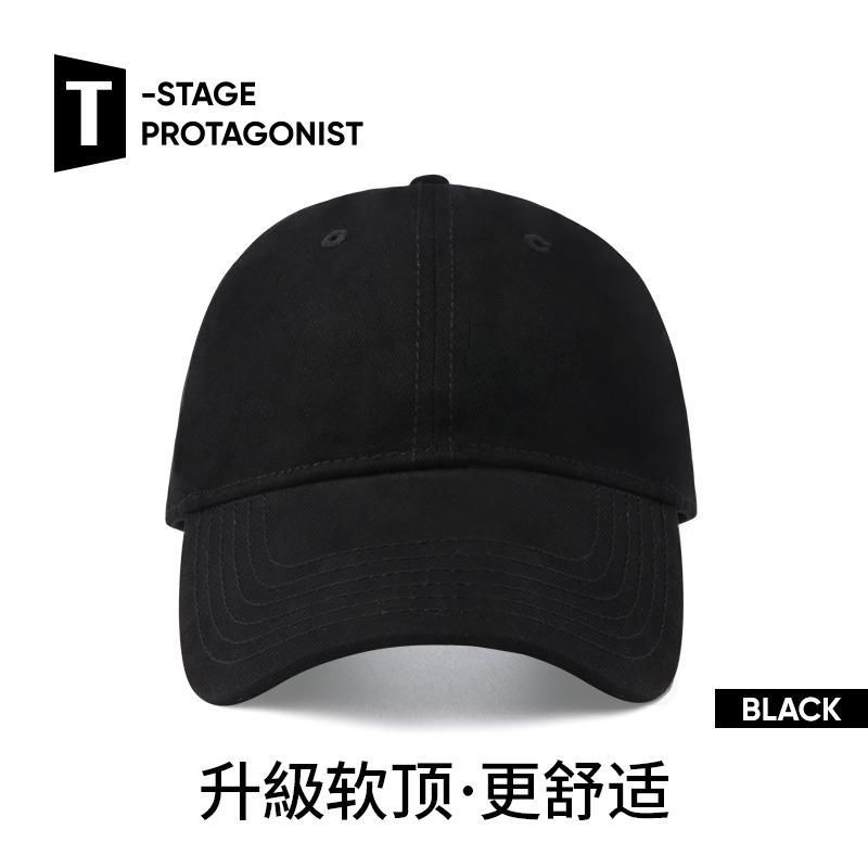 帽子男夏天薄款软顶纯黑色棒球帽韩版户外遮阳帽时尚夏季潮鸭舌帽