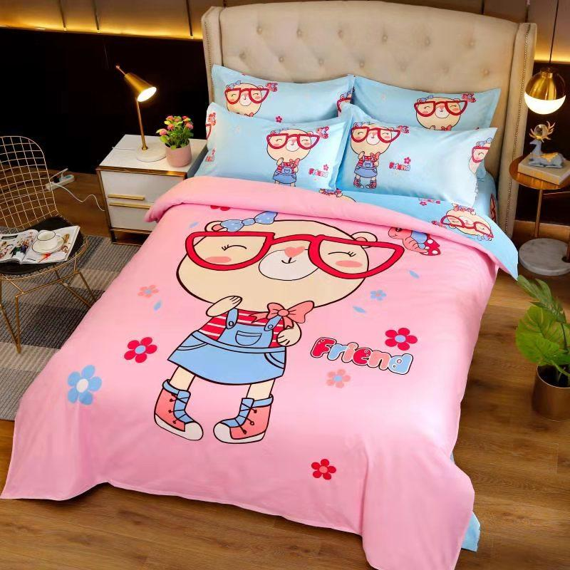 Childrens three piece sheet set for boys and girls, bedding set for students dormitories, all cotton cartoon four piece set for all cotton children