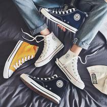 高帮帆布鞋男韩版潮流休闲板鞋学生百搭情侣布鞋男高邦鞋子男潮鞋