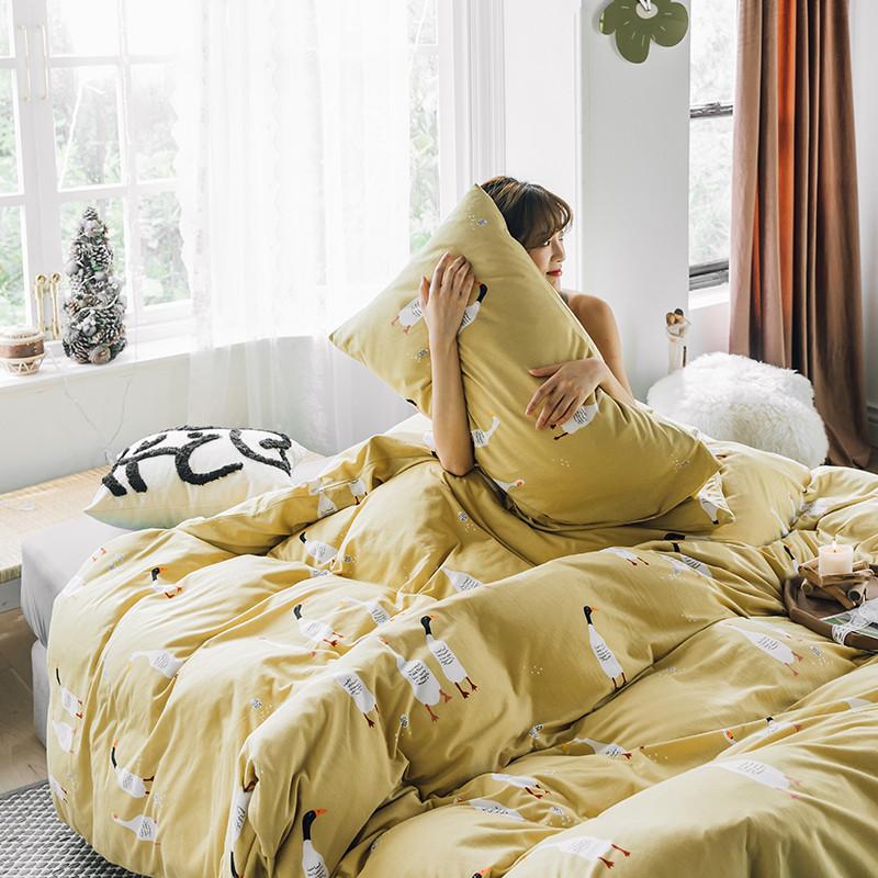 网红四件套卡通全棉针织棉被套床笠天竺棉套件少女心床单床上用品