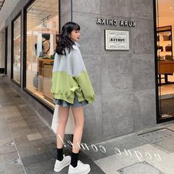 撞色空气棉卫衣女欧洲站高端开衫2020新款秋冬宽松时尚设计感小众