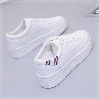 布鞋平底新款高帮学生女鞋春季小白鞋女鞋单鞋皮面撞色怀旧豹纹深