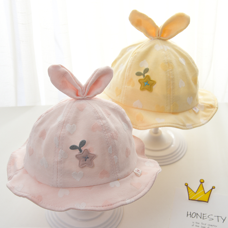 Baby hat spring and autumn thin new infant fisherman hat cute princess female baby summer sunshade sun cap