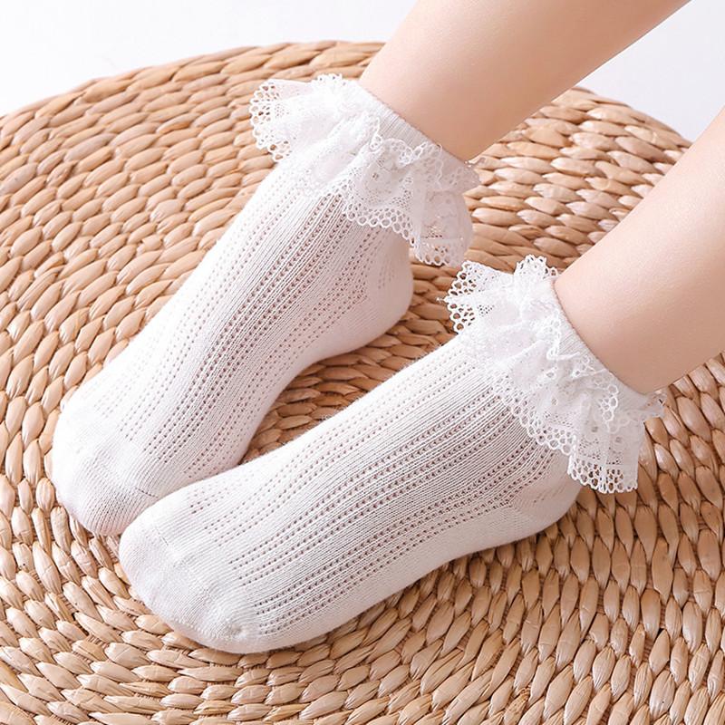女童袜子纯棉夏季薄款宝宝花边袜蕾丝公主袜韩版少女学生白袜春秋