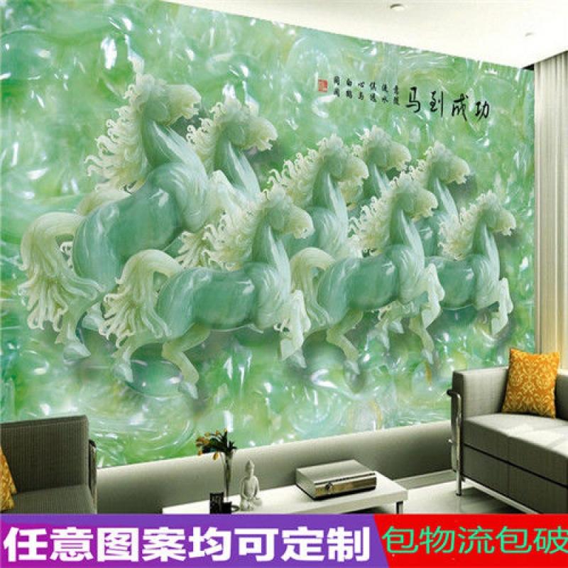 瓷砖电视背景墙3D客厅简约画中式现代仿玉雕刻微晶石马到成功壁画33.80元包邮