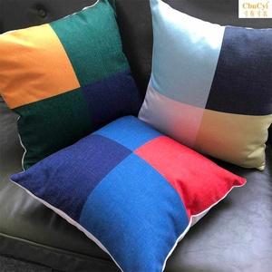 北欧现代简约几何抱枕布艺棉麻靠枕居家装饰靠垫沙发座椅靠枕腰枕