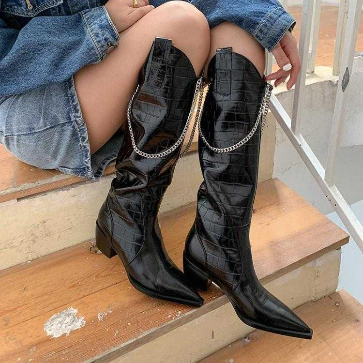 Stone pattern knee length western cowboy boots women autumn winter retro metal chain knee high top Knight boots middle thick heel