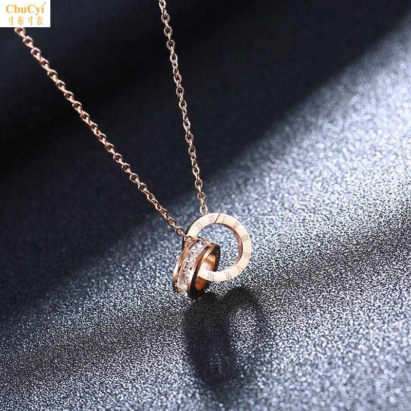 Connecting Necklace does not fade female girls adjust womens Pendant single three ring combination chain best friend clavicle