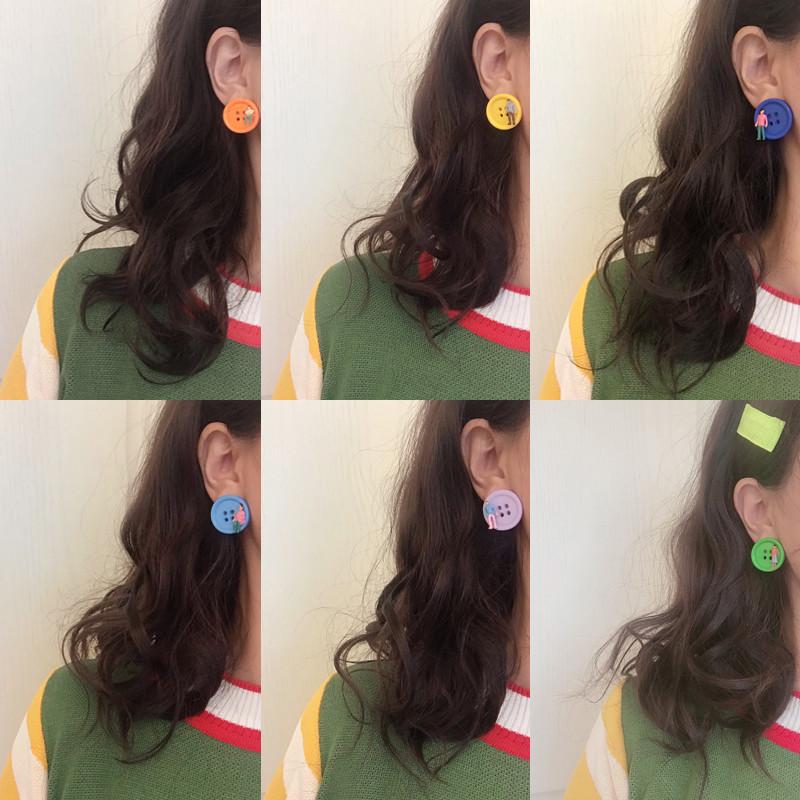 彩色纽扣耳钉可爱撞色小人耳环2020新款潮土酷少女学生个性耳饰品