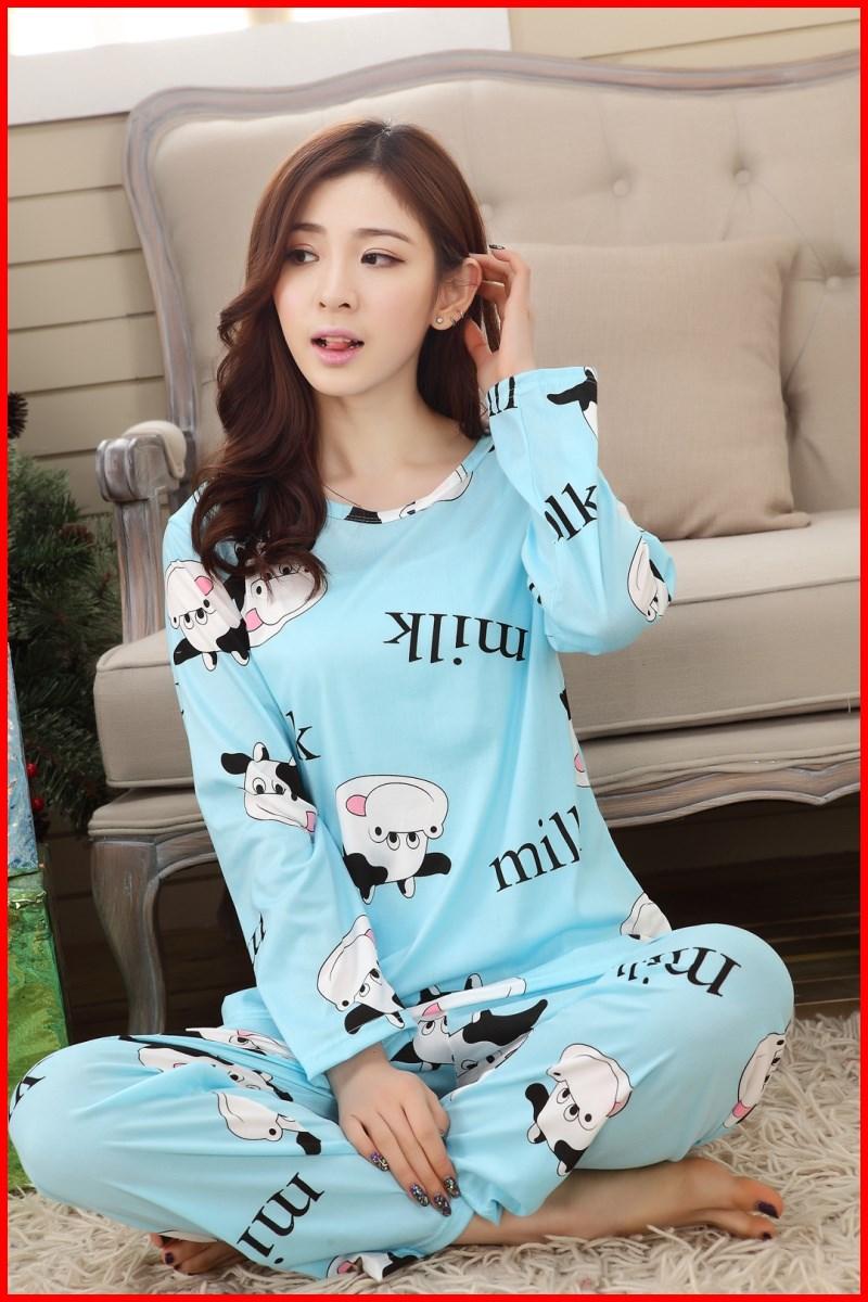 春秋季空调睡衣女长袖成人超薄款套装纯棉韩版全棉夏季长裤家居服