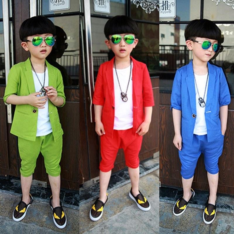 美优宝宝儿童装夏装男孩小西装3岁4背心5西服6短袖男童夏天套装休