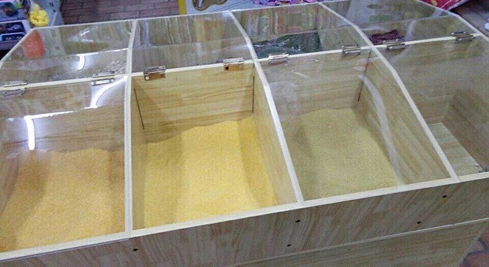 粮油米面超市货架超市木制米桶米柜五谷杂粮展示柜米粮桶杂粮柜米
