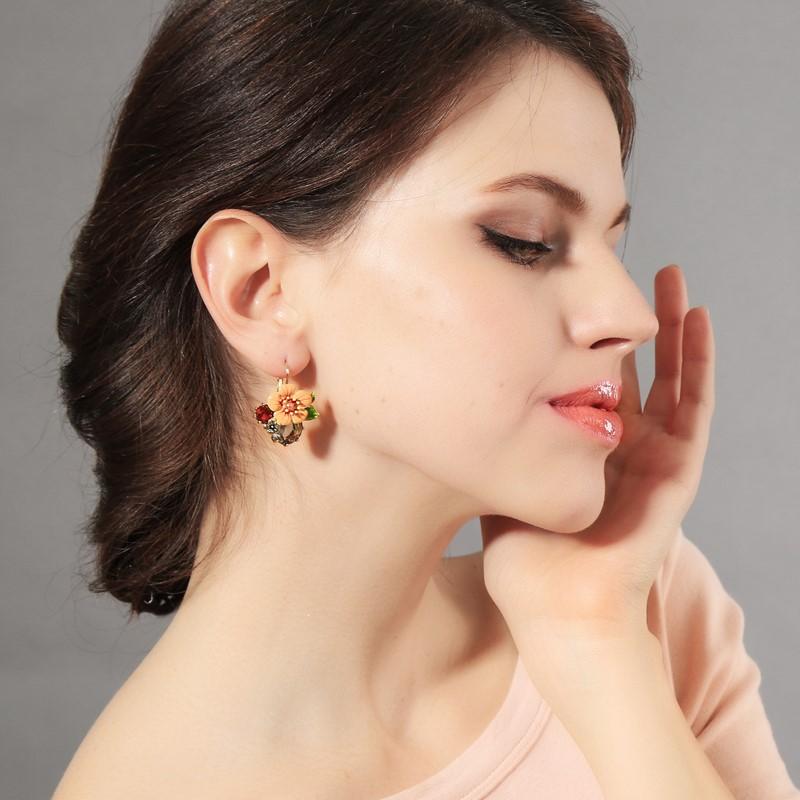 Colorful Earrings Flower Earrings European and American fashion style inlaid diamond simple sweet girl Earrings