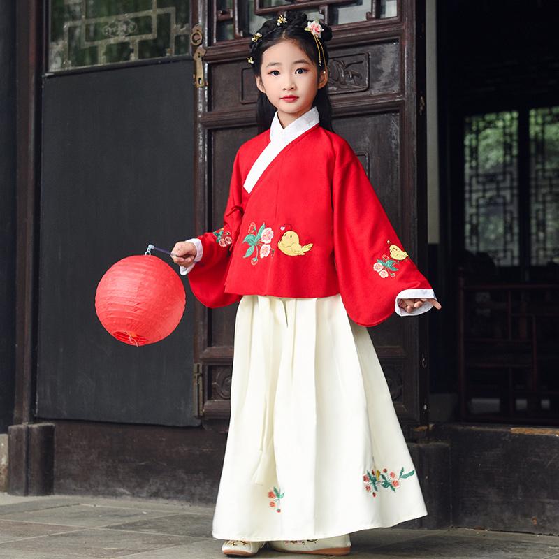 女童汉服春秋袄裙冬装原创中国风国学服小童女宝儿童古装汉服女孩