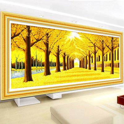 水石画2020新款客厅黄金满地全景满钻全贴大幅画风景点贴沾水石绣