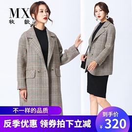 韩版绿色格子双面羊绒大衣女短款中长款复古休闲小西装羊毛呢外套