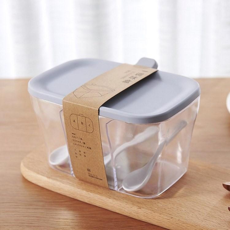 日系简约厨房塑料手提调味盒三格组合一体调味盐罐味精佐料调料盒五折促销