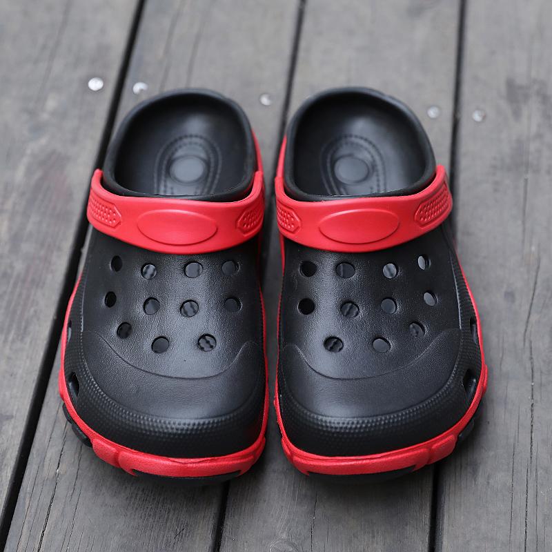 Japanese summer lazy rubber shoes amphibious shoes antiskid soft soled hole shoes mens slippers wear plastic sandals