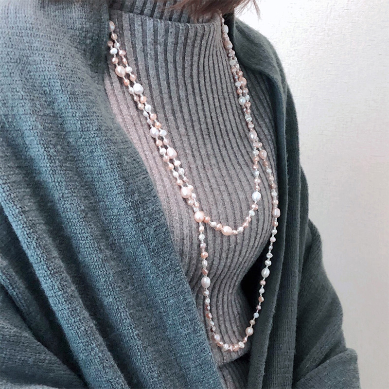 Natural baroque pearl necklace sweater chain simple and versatile mixed color millet beads shaped long multi circle niche