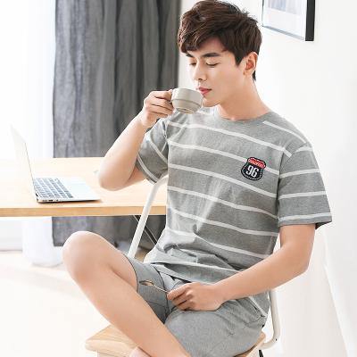 Mens pajamas Summer Cotton Short Sleeve stripe youth mens summer thin cotton home wear student suit