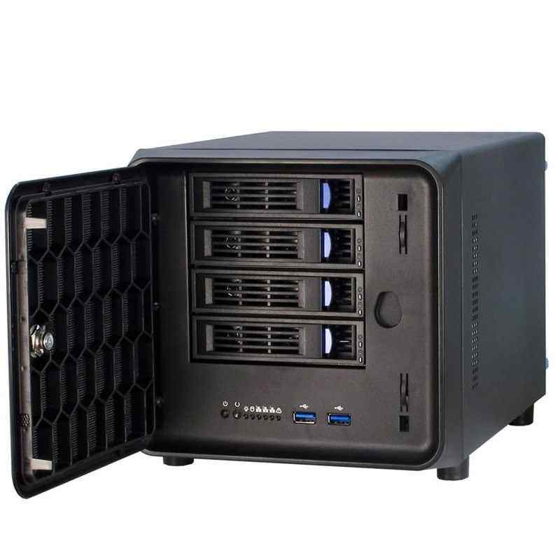 NAS chassis 4-bay hot swap black Qunhui home network storage chassis itx chassis with mute fan